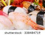 sushi  set of sushi  various... | Shutterstock . vector #338484719