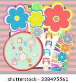 birthday party elements with... | Shutterstock .eps vector #338495561
