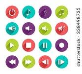 music control panel icons set...