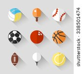 sport balls icon set   white... | Shutterstock . vector #338501474