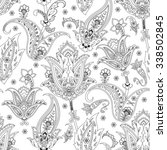 monochrome seamless paisley... | Shutterstock .eps vector #338502845