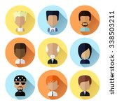 colorful male avatars circle... | Shutterstock . vector #338503211