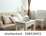 pastel color sofa with... | Shutterstock . vector #338518421