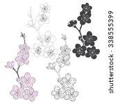 set of flowering cherry... | Shutterstock .eps vector #338555399