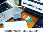 criminal law   office folder on ... | Shutterstock . vector #338563631