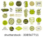 Retro set of 100% bio, organic, gluten free, eco, healthy food labels. Hand drawn logo templates with floral and vintage elements for restaurant menu or food package. Vector badges in hipster style | Shutterstock vector #338567711