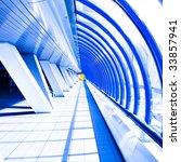 violet glass corridor in tube...