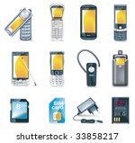vector mobile phones icon set | Shutterstock .eps vector #33858217