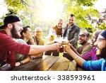 diverse people friends hanging... | Shutterstock . vector #338593961