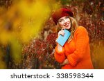 lovely girl in a beret and a... | Shutterstock . vector #338598344