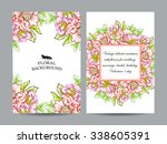 invitation with floral... | Shutterstock . vector #338605391