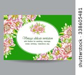invitation with floral... | Shutterstock . vector #338605481