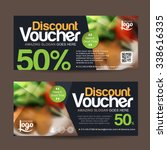 discount voucher template with... | Shutterstock .eps vector #338616335