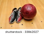 bowling shoes and ball on the... | Shutterstock . vector #33862027