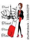 fashion  girl with baggage... | Shutterstock .eps vector #338640299