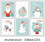 collection of 6 christmas card... | Shutterstock .eps vector #338661251