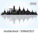 thailand detailed skyline.... | Shutterstock .eps vector #338662517