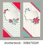 two greeting cards in shabby... | Shutterstock .eps vector #338673269
