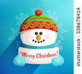 cute funny snowman holding...   Shutterstock .eps vector #338678414