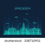 dresden skyline  detailed... | Shutterstock .eps vector #338710931