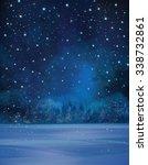 vector winter night scene ... | Shutterstock .eps vector #338732861