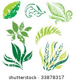 set of leafs and plants design...   Shutterstock .eps vector #33878317