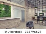 office lobby with green wall 3d ...   Shutterstock . vector #338796629
