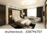 Stock photo  hotel room in dark wood panels d rendering 338796707