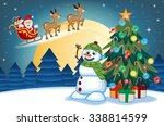 santa claus moving on the... | Shutterstock .eps vector #338814599
