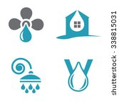 water logos with drops. valve... | Shutterstock .eps vector #338815031