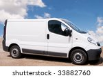 small white trade van parked on ... | Shutterstock . vector #33882760