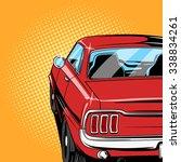 Red Car Comic Book Retro Pop...