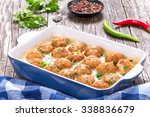 tasty homemade meatballs... | Shutterstock . vector #338836679