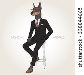 Doberman Pinscher Dog Dressed...