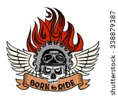 vintage biker skull with wings... | Shutterstock .eps vector #338879387