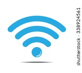 floating blue wifi icon vector... | Shutterstock .eps vector #338924561