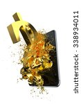 gold dollar and phone. path... | Shutterstock . vector #338934011