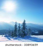 christmas theme  frozen trees | Shutterstock . vector #33893659