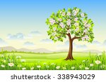 spring landscape with flowering ... | Shutterstock .eps vector #338943029