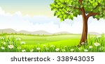 summer panorama landscape with... | Shutterstock .eps vector #338943035