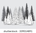 Vector Set Of Coniferous Trees...