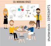 hipster people working in the... | Shutterstock .eps vector #339036971