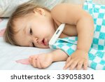 baby sick with measuring... | Shutterstock . vector #339058301