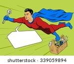 superhero man with tool box... | Shutterstock .eps vector #339059894