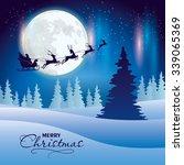 santa's sleigh flying over and... | Shutterstock .eps vector #339065369