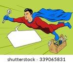 superhero man with tool box... | Shutterstock . vector #339065831