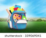 school backpack with books and... | Shutterstock . vector #339069041