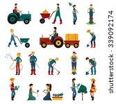 gardening people with equipment ... | Shutterstock .eps vector #339092174