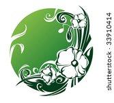 poppy ornament   green circle... | Shutterstock .eps vector #33910414