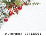 christmas decoration on white... | Shutterstock . vector #339130091